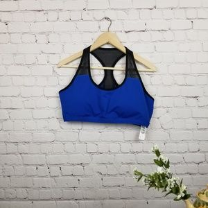 Fabletics Blue with Black Mesh Sports Bra XXL